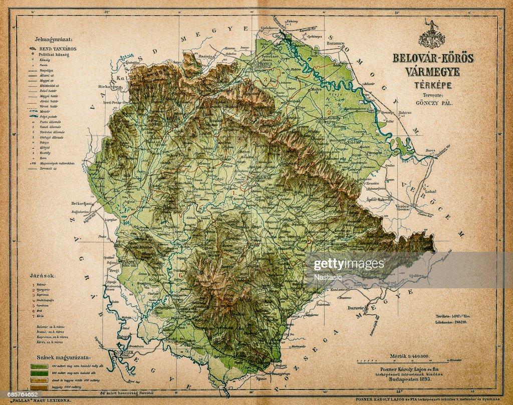 Belovar-koros ,Croatio map from 1893 : stock illustration