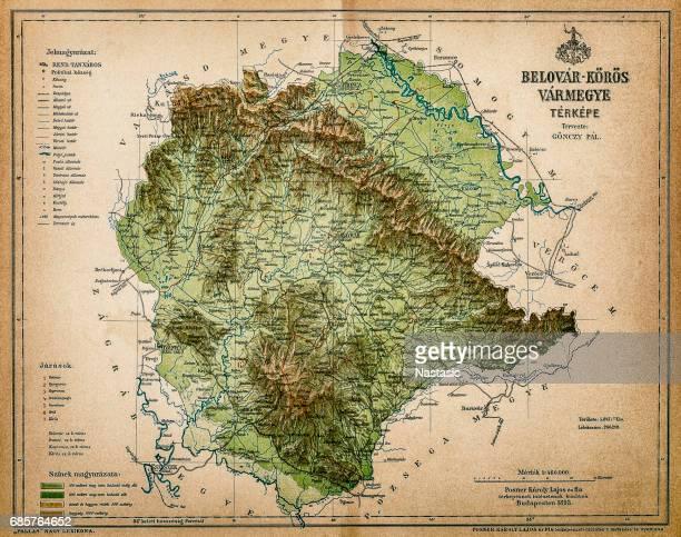Belovar-koros ,Croatio map from 1893