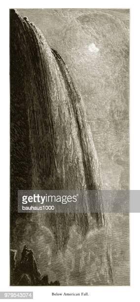 below american fall, niagara falls, new york, niagara falls, ontario, american victorian engraving, 1872 - lake ontario stock illustrations, clip art, cartoons, & icons