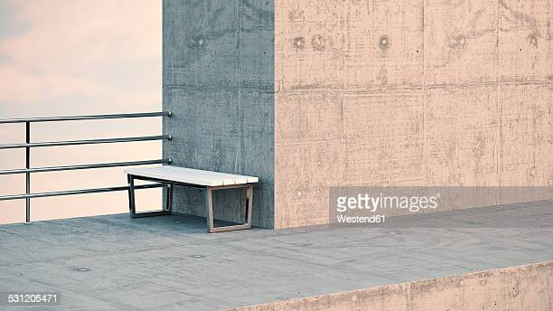 bench at observation point, 3d rendering - concrete wall stock illustrations, clip art, cartoons, & icons
