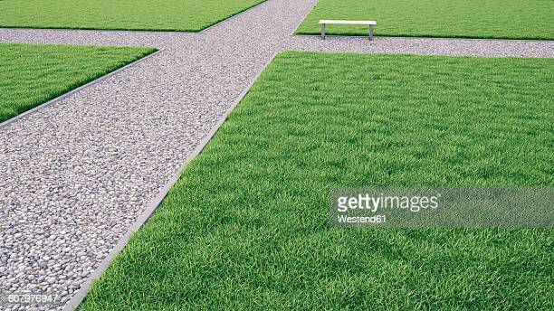 bench on path in park, crossroad, 3d-rendering - remote location stock illustrations