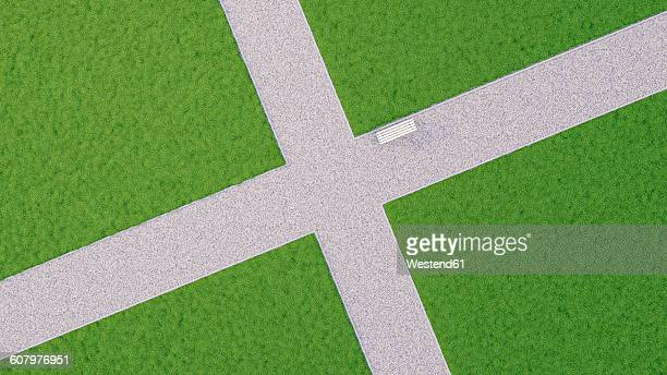 bench on path in park, crossroad, 3d-rendering - road intersection stock illustrations