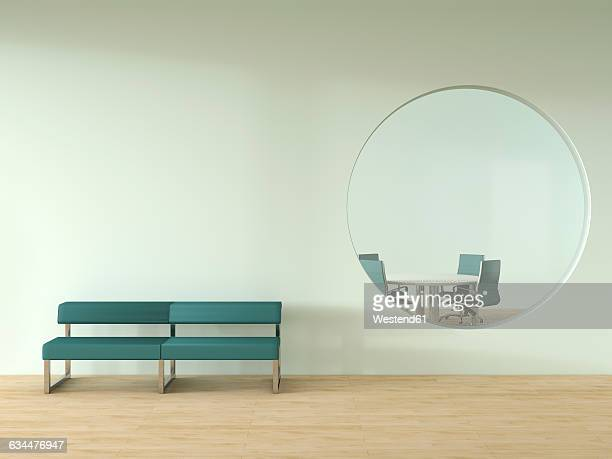 bench standing in front of wall with oculus and view into meeting room - no people stock illustrations