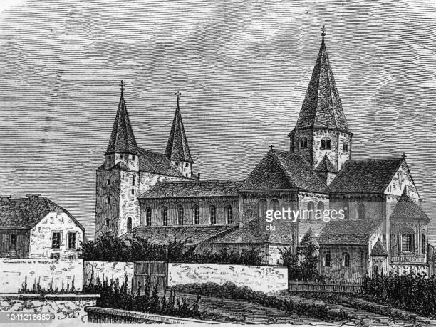 ilustrações, clipart, desenhos animados e ícones de abadia beneditina königslutter - abadia mosteiro