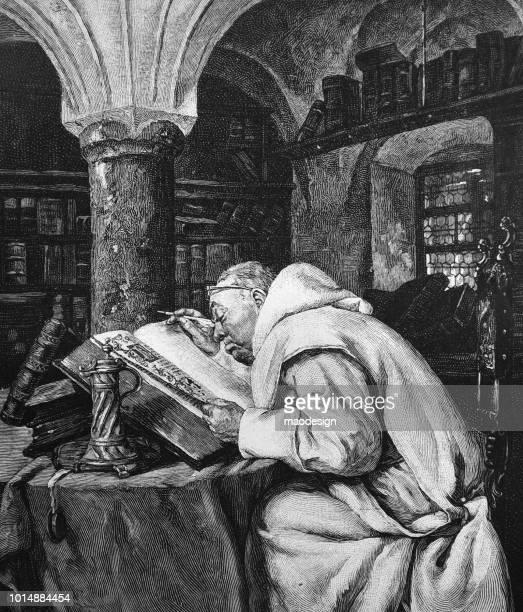 ilustraciones, imágenes clip art, dibujos animados e iconos de stock de monje benedictino trabajando en la reescritura de los textos sagrados - 1895 - personas leyendo la biblia