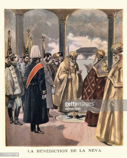 ilustrações, clipart, desenhos animados e ícones de bênção do rio neva são petersburgo, pelo bispo ortodoxo russo - bishop clergy