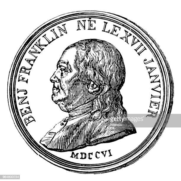 benjamin franklin coin - benjamin franklin stock illustrations, clip art, cartoons, & icons