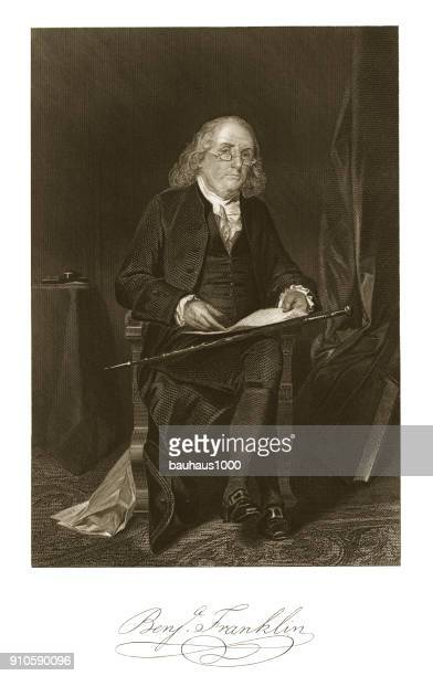 benjamin franklin engraving - benjamin franklin stock illustrations, clip art, cartoons, & icons