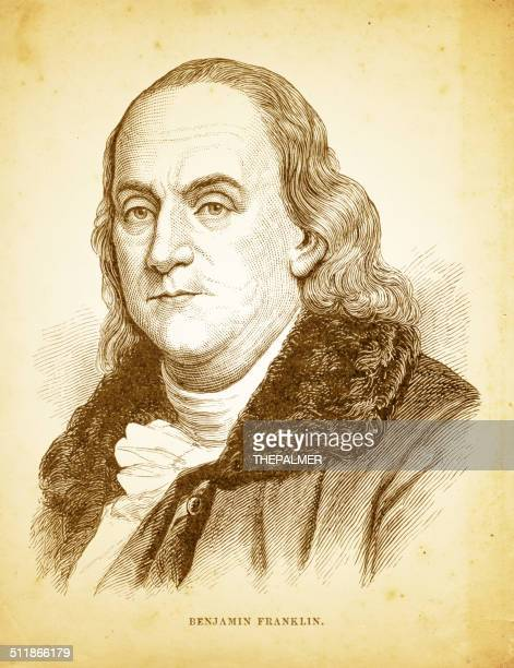 benjamin franklin engraving illustration - benjamin franklin stock illustrations, clip art, cartoons, & icons