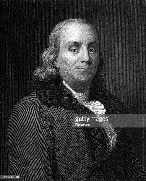 benjamin franklin engraving - ultra xxxl - benjamin franklin stock illustrations, clip art, cartoons, & icons