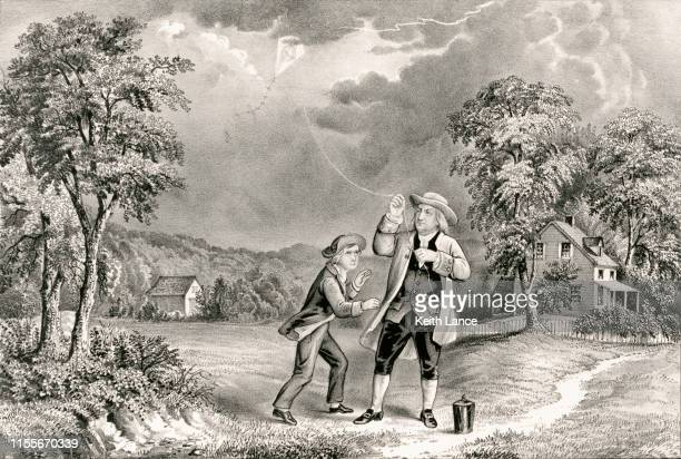 benjamin franklin flies a kite during at thunderstorm, june 1752 - benjamin franklin stock illustrations, clip art, cartoons, & icons