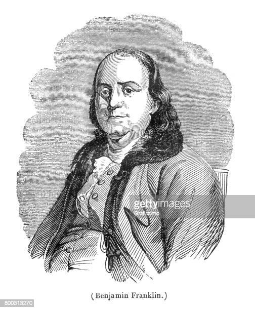 benjamin franklin president united states engraving from 1837 - benjamin franklin stock illustrations, clip art, cartoons, & icons