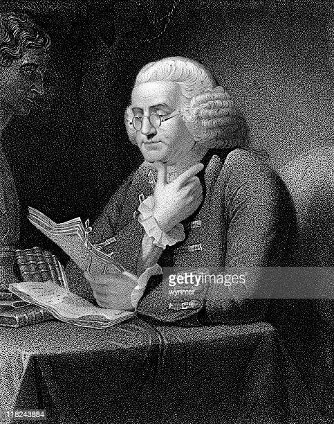 benjamin franklin reading a manuscript - benjamin franklin stock illustrations, clip art, cartoons, & icons