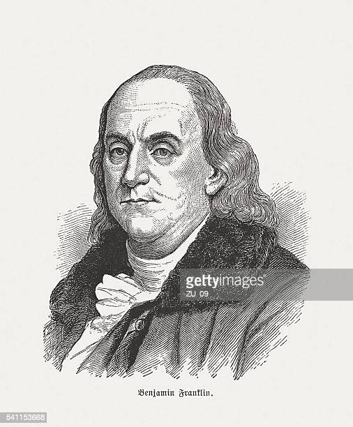 benjamin franklin (1706-1790), wood engraving, published in 1884 - benjamin franklin stock illustrations, clip art, cartoons, & icons