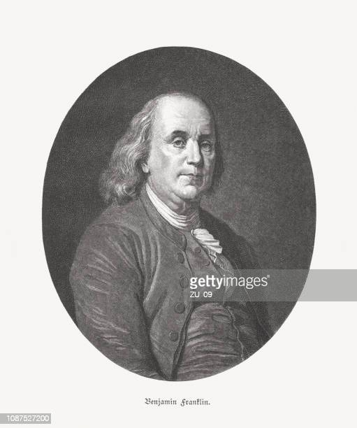 benjamin franklin (american statesman, 1706-1790), wood engraving, published in 1886 - benjamin franklin stock illustrations, clip art, cartoons, & icons