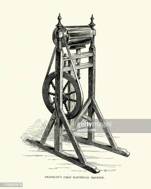 benjamin franklin's first electrical machine - benjamin franklin stock illustrations, clip art, cartoons, & icons