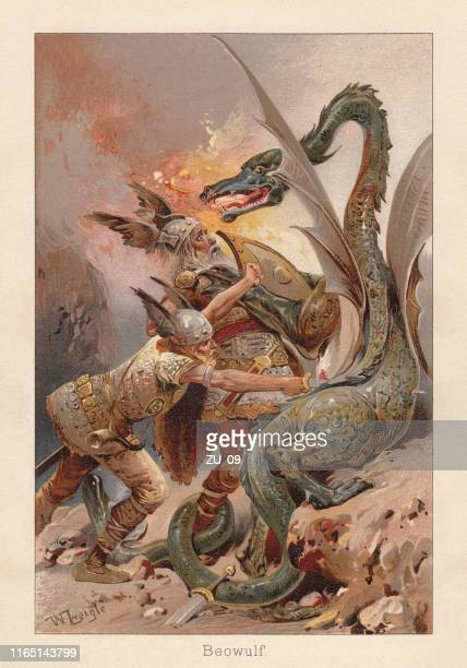 beowulf fighting against a dragon, medieval english poem, chromolithograph, 1896 - dragon stock illustrations