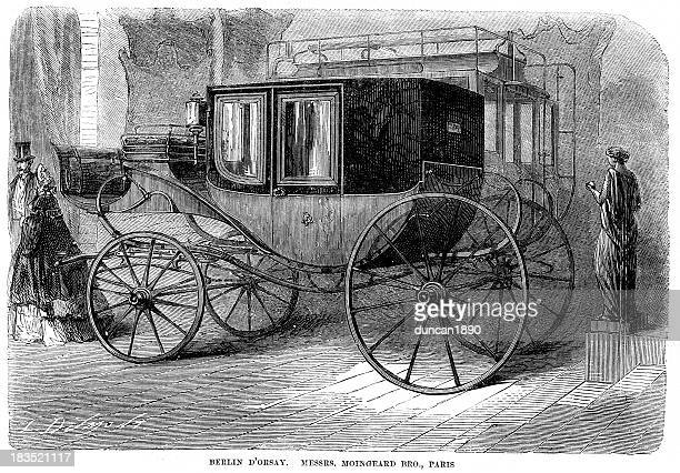 berlin d'orsay carriage - horsedrawn stock illustrations, clip art, cartoons, & icons