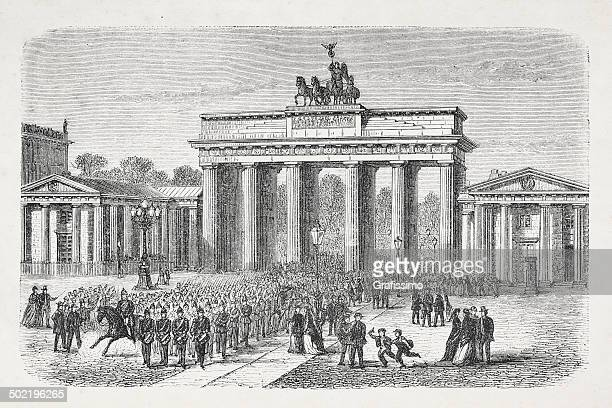 berlin germany brandenburg gate from 1870 - brandenburg gate stock illustrations, clip art, cartoons, & icons