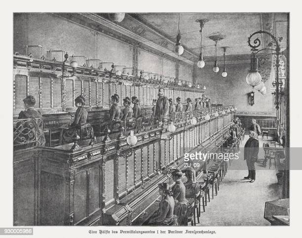 berlin telephone exchange, germany, published in 1898 - industrial revolution stock illustrations