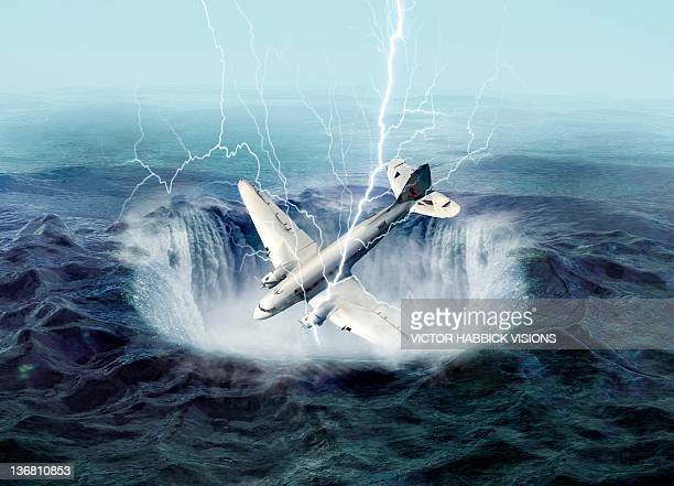 bermuda triangle, conceptual artwork - victor habbick stock illustrations