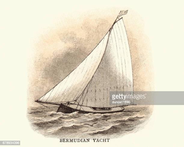 bermudian yacht, 19th century - sailing boat stock illustrations, clip art, cartoons, & icons