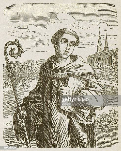 bernard of clairvaux (1090-1153), wood engraving, published in 1877 - prayer book stock illustrations