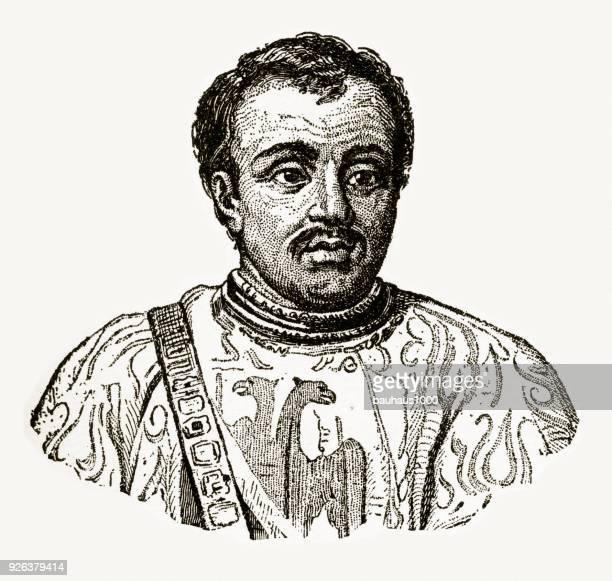 bertrand du guesclin, 1314-1380, engraving - rennes france stock illustrations, clip art, cartoons, & icons