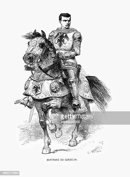 bertrand du guesclin, constable and knight, engraving - rennes france stock illustrations, clip art, cartoons, & icons
