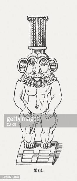 bes - ancient egyptian god, wood engraving, published in 1897 - nubia stock illustrations, clip art, cartoons, & icons