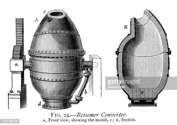 bessemer converter - adaptor stock illustrations