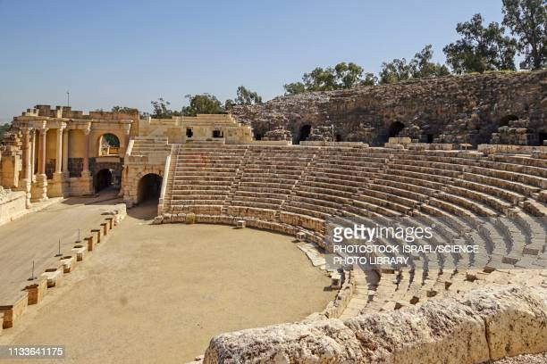 bet shean roman theatre, israel - classical greek style stock illustrations