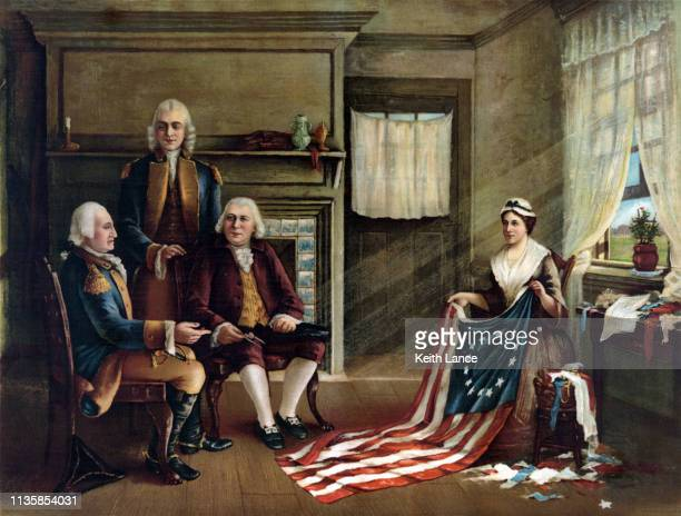 betsy ross and the creation of the american flag - history stock illustrations