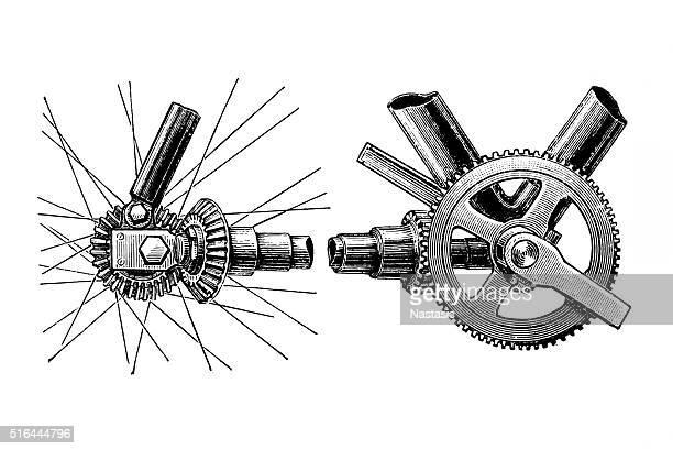 ilustrações, clipart, desenhos animados e ícones de chanfrado chainless bicicleta, equipamento de tradução para - parte de