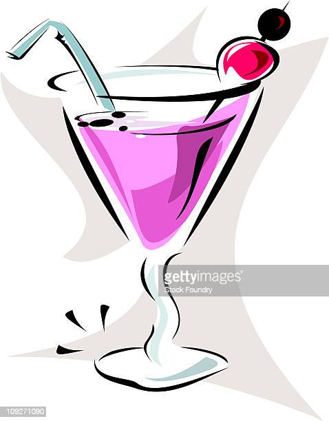 Beverage in Martini Glass with Straw