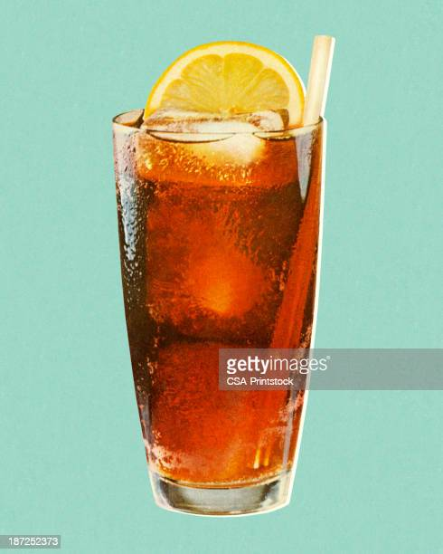 stockillustraties, clipart, cartoons en iconen met beverage with lemon in glass - food and drink