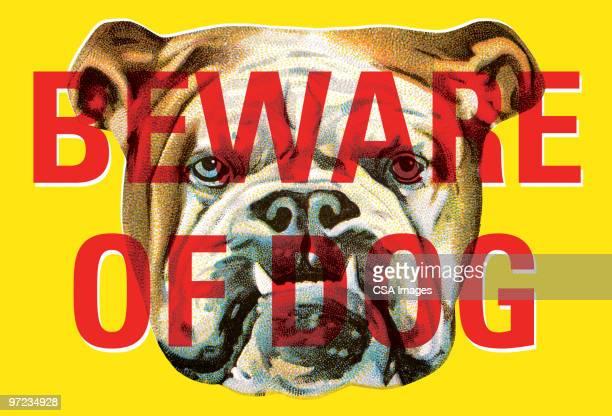 beware of dog bulldog - protection stock illustrations