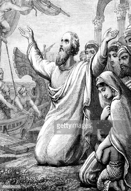 bible: st. pauls departure from tyre - paul the apostle stock illustrations