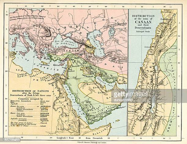 biblical map - historical palestine stock illustrations