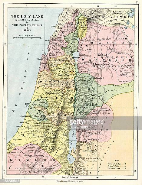 biblical map of the holy land - historical palestine stock illustrations