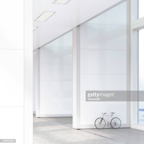 Bicycle leaning on the wall in a loft, 3D Rendering