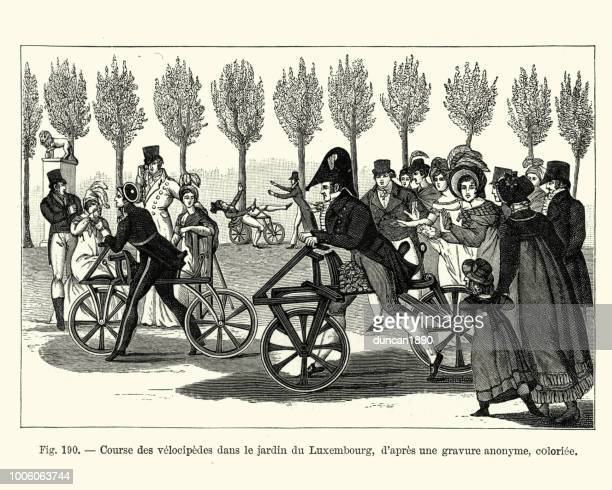 Bicycle (Dandy horse) racing in the Jardin du Luxembourg, Paris, France