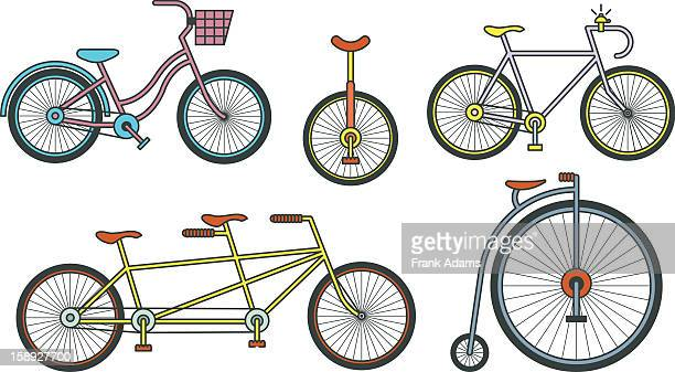 bicycles - unicycle stock illustrations, clip art, cartoons, & icons