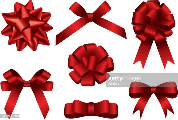 big bow set - tied bow stock illustrations