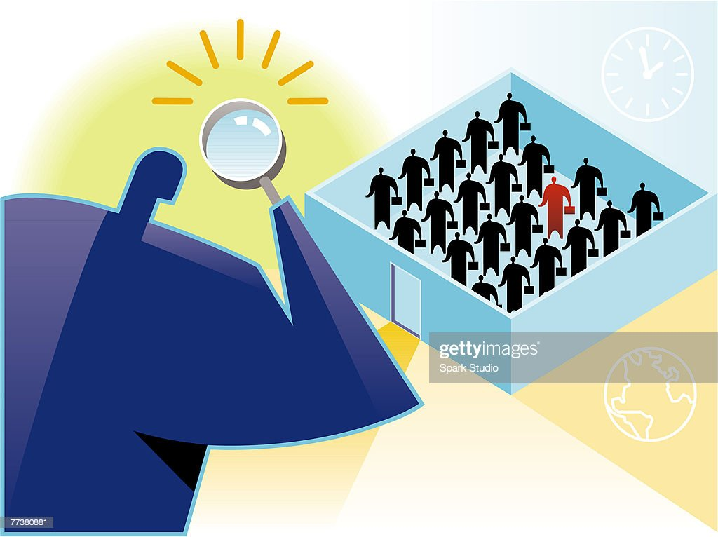 Big brother - a man looks through a magnifying glass at his employees : stock illustration