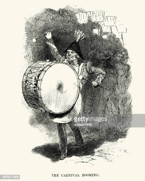 big drummer at the new orleans carnival, 19th century - drum percussion instrument stock illustrations, clip art, cartoons, & icons