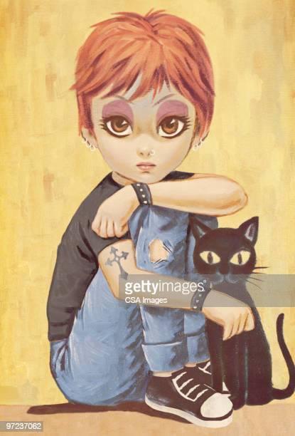 illustrations, cliparts, dessins animés et icônes de big eyed girl with black cat - chat noir