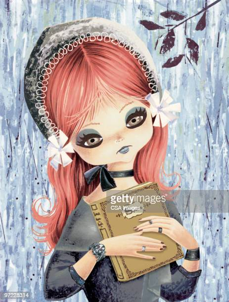 big eyed girl with book of spells - goth stock illustrations, clip art, cartoons, & icons