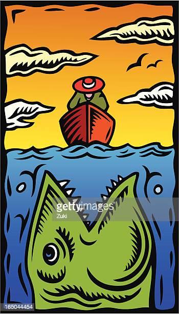 big 魚 - 食物連鎖点のイラスト素材/クリップアート素材/マンガ素材/アイコン素材