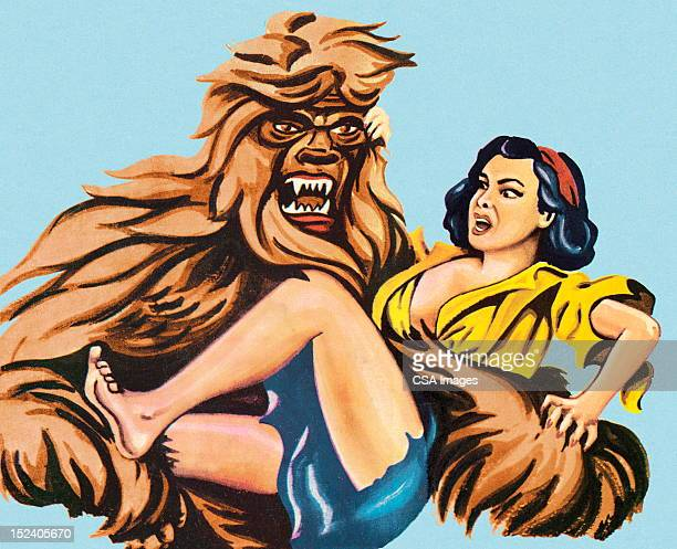 big foot holding woman - bigfoot stock illustrations